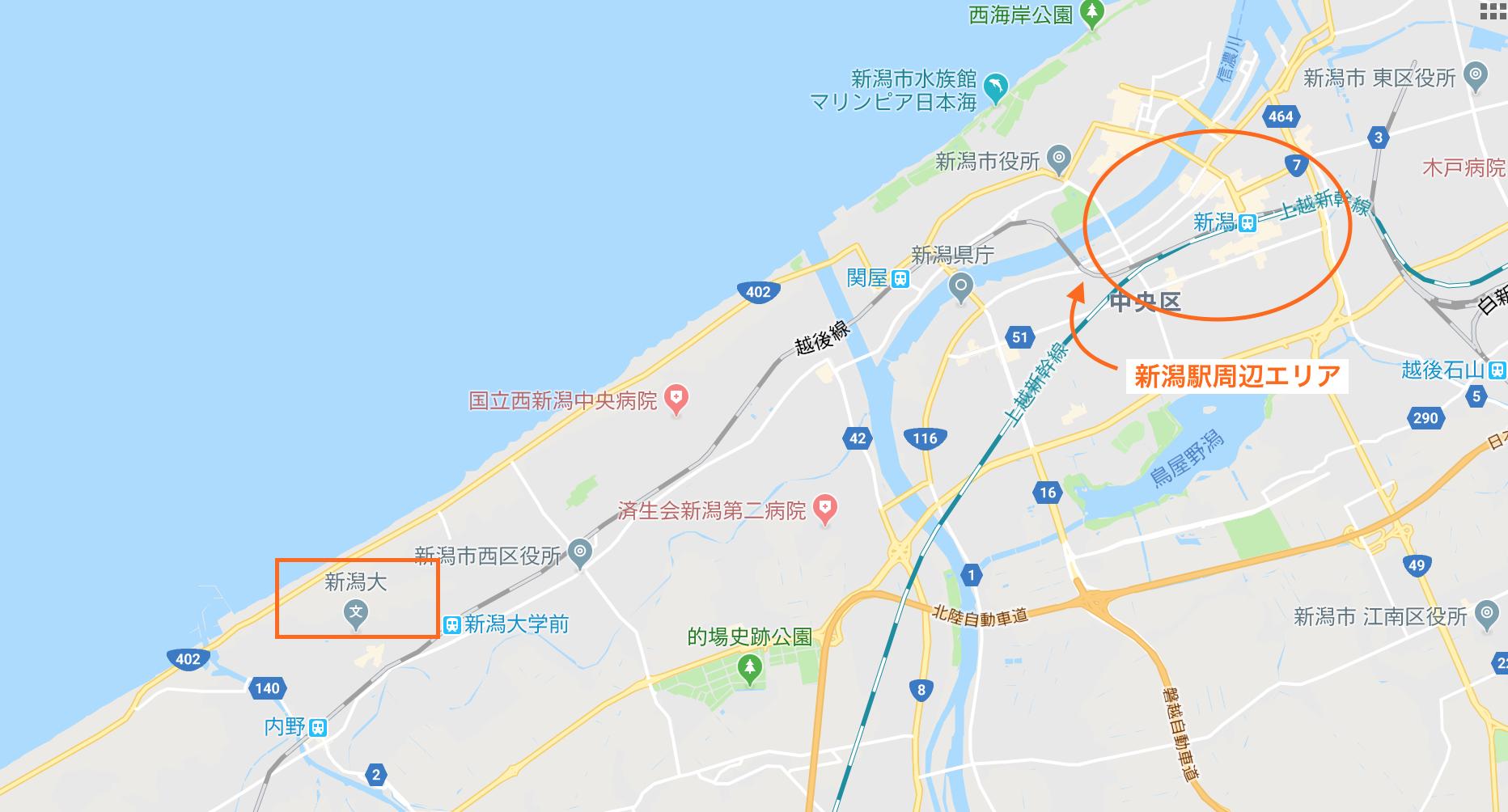新潟大学の五十嵐キャンパス周辺の宿泊エリア
